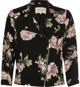 River Island Womens Black floral print zip front biker jacket