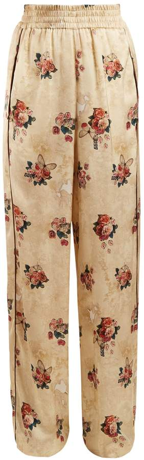 Golden Goose Floral-print wide-leg satin trousers