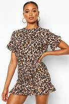 boohoo Leopard Print Ruffle Tie Waist Dress