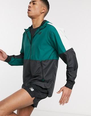 New Balance Running retro lightweight hooded jacket in color block green
