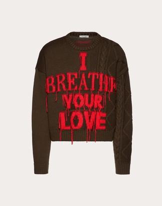 Valentino Uomo On Love Crew-neck Sweater Man Olive Virgin Wool 100% L