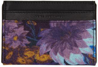 Dries Van Noten Black and Multicolor Flower Card Holder