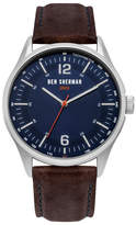 Ben Sherman Men's Quartz Leather Strap Watch, 43mm