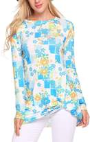 Meaneor Women Round Collar Floral Printed Long Sleeve Tee Shirts Ladies tops__XL