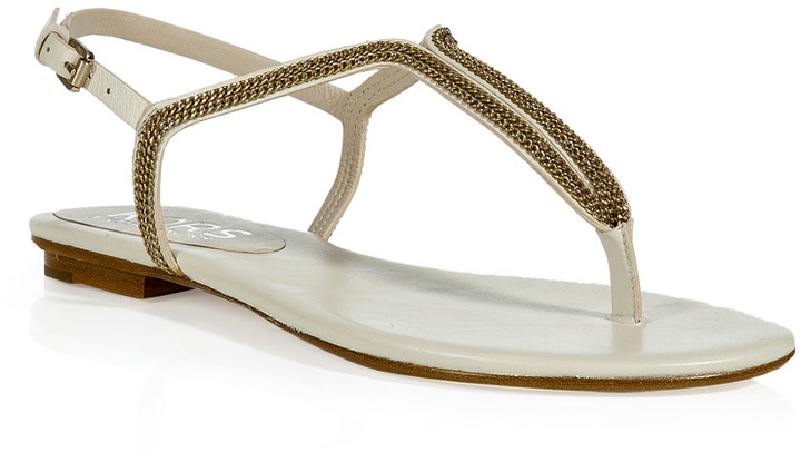 KORS Smooth Calf Leather Fip-Flops with Chain