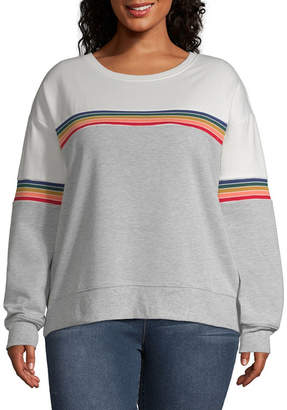Cut And Paste-Womens Round Neck Long Sleeve T-Shirt Juniors Plus