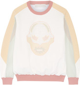 Stella McCartney Superstellaheroes jersey-trimmed embroidered mesh sweater
