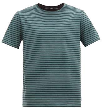 A.P.C. Marco Striped Cotton T Shirt - Mens - Green