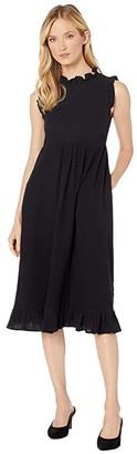 American Rose Vera Mock Neck Sleeveless Midi Dress (Black) Women's Clothing