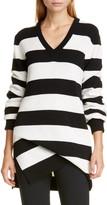 Michael Kors Stripe Draped Asymmetrical Cashmere Sweater
