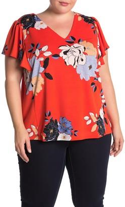 Rachel Roy Adrina V-Neck Flutter Sleeve Top (Plus Size)