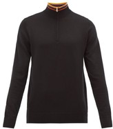 Paul Smith Artist-stripe Half-zip Merino-wool Sweater - Mens - Black