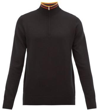 Paul Smith Artist-stripe Half-zip Merino-wool Sweater - Black