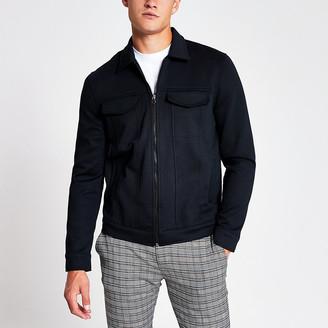 River Island Navy zip front skinny Western jacket