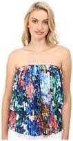 Nicole Miller Tie-Dye Flowers Pleated Tube Top