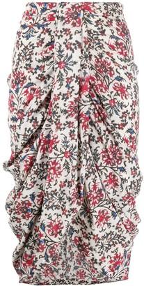 Isabel Marant Floral-Print Draped Skirt