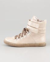 Brunello Cucinelli Patent Leather Hi-Top Sneaker, Sand