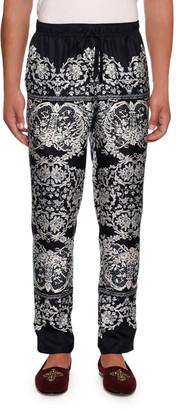 Dolce & Gabbana Men's Lace Print Silk Pajama Pants