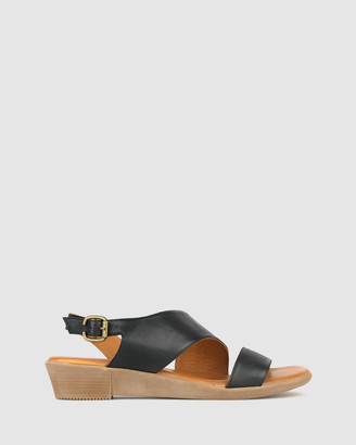 Airflex Women's Black Wedge Sandals - Bingle Leather Wedge Sandals - Size One Size, 8 at The Iconic