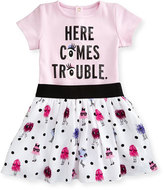 Kate Spade Here Comes Trouble Playsuit W/ Crepe Monster Skirt, Pink, Size 12-24 Months