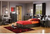 South Shore Cosmos Twin Bookcase Headboard in Black Onyx and Charcoal