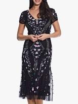 Adrianna Papell Beaded Flounce Dress, Black/Purple