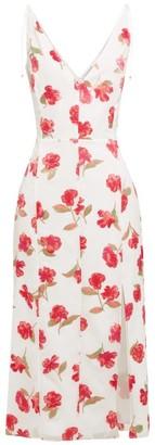 Altuzarra Ilaria Poppy-devore Panelled Midi Dress - Womens - White Multi