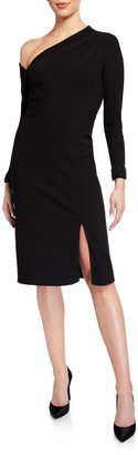 Aidan Mattox Asymmetrical Long-Sleeve Crepe Cocktail Dress