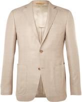 Canali Beige Kei Wool, Silk And Linen-blend Blazer