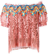 Peter Pilotto embroidered lace bardot top - women - Silk/Polyamide/Polyester/Viscose - 10