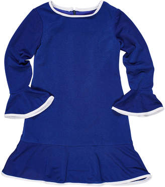 Florence Eiseman Bell-Sleeve Techno Crepe Dress, Size 7-14