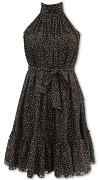 Taylor Petite Ruffle-Hem Fit & Flare Dress