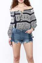 Honey Punch Tribal Off-Shoulder Top