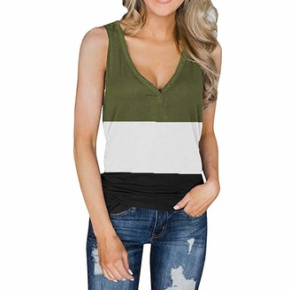 Uoweg Womens Cotton Tank Tops Color Block Buttons V Neck Vest T-Shirts Sleeveless Tee Tunic Top Blouse Summer Army Green