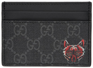 Gucci Black GG Supreme Wolf Card Holder