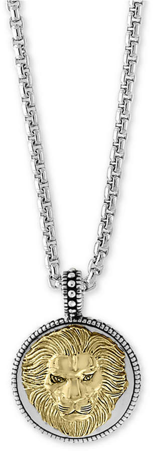 """Effy Men's Two-Tone Lion's Head 22"""" Pendant Necklace in Sterling Silver and 18k Gold-Plate"""