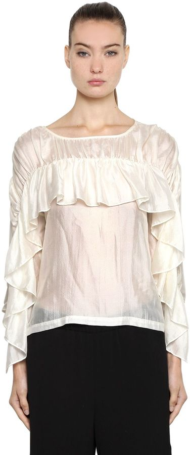 Designers Remix Silk Blouse W/ Ruffled Sleeves