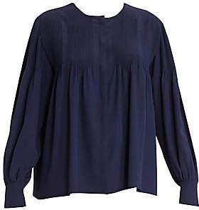 Chloé Women's Pleated Long Sleeve Silk Blouse