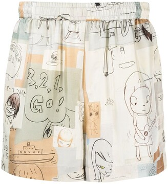 Stella McCartney x Yoshitomo Nara illustration-print shorts