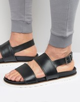 Asos Sandals In Black Leather With Wedge Sole