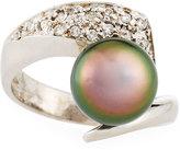 Belpearl 14k 10mm Tahitian Pearl & Diamond Bypass Ring, Size 7