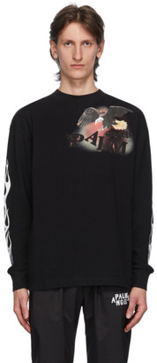 Palm Angels Black Flame Eagle Long Sleeve T-Shirt