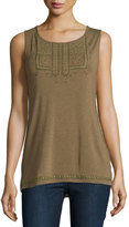 Design History Beaded Embroidered Scoop-Neck Tank, Camo