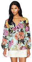 Trina Turk Women's Welcome V Neck Dahlia Dell Print Blouse