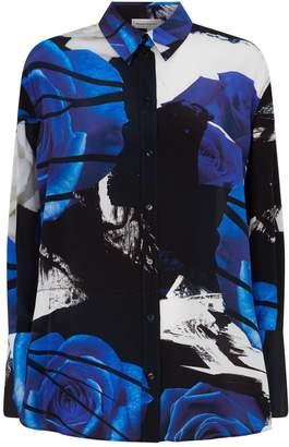 Alexander McQueen Silk Rose Print Shirt
