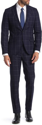 Savile Row Co Brixton Navy Windowpane Two Button Notch Lapel Wool Skinny Fit Suit