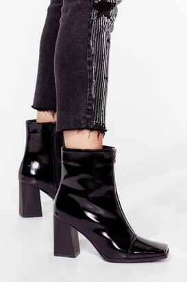 Nasty Gal Womens Zip to the Good Part Patent Heeled Boots - Black