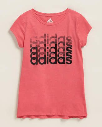 adidas Girls 7-16) Linear Multi Logo Short Sleeve Tee
