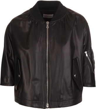 RED Valentino Rromantic Black Ruffle Bomber Jacket