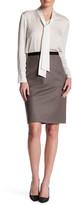 Oscar de la Renta High Waisted Wool Blend Pencil Skirt